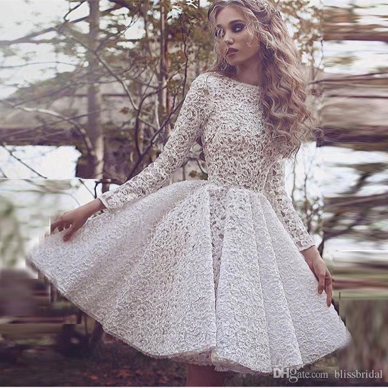 Robe de retour en dentelle pleine dentelle glamour Blanc bijou de manches longues à volants courtes robes de bal courtes personnalisées robe pas cher pour femmes