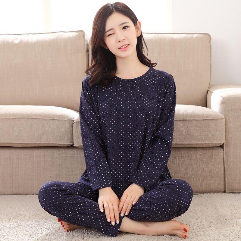 All'ingrosso-Nuovo elenco 2017 donne di moda belle per il tempo libero di cotone sottile pigiameria Dots donna pigiama casual a maniche lunghe primavera femminile