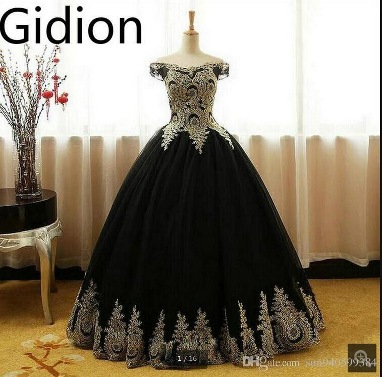2017 Real Picture Latest Black Ball Gown Gold Lace Appliques Prom ...