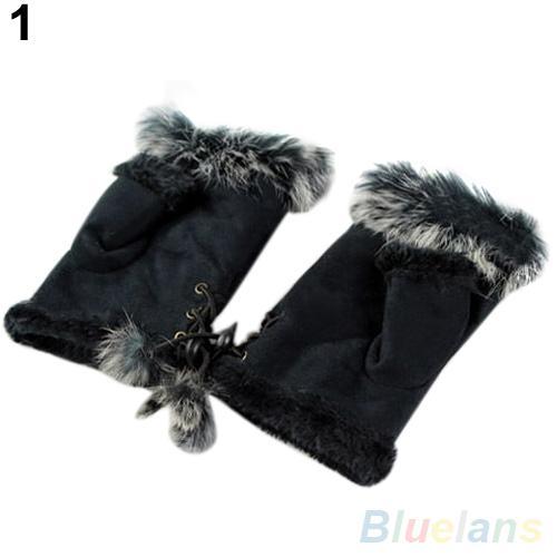 Atacado couro Hot New Fur Lady dedos camurça Luvas Mulheres Winter pulso Luvas 22HU
