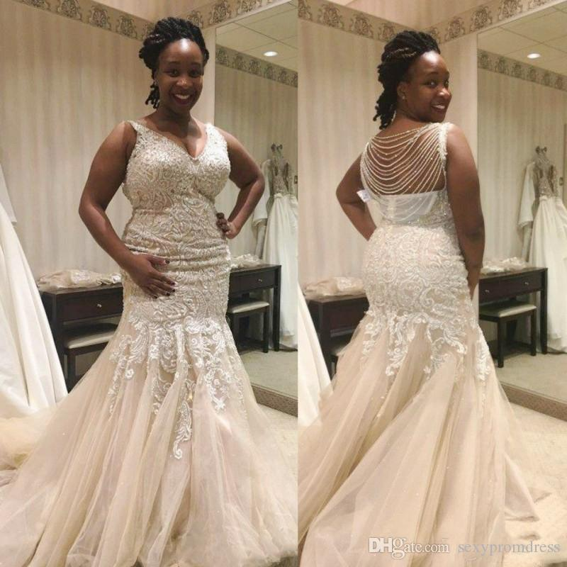 Ivory Mermaid Wedding Dresses African Lace Appliques Plus Size Bridal Gowns  V Beck Beading Chains On Back Tulle Sweep Train Wedding Dress Mermaid ...