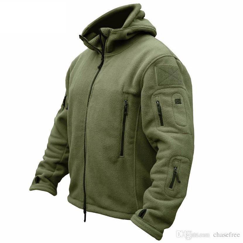 Kış Askeri Taktik Polar Ceket Erkekler Sıcak Polartec ABD Ordusu Giyim Çoklu Cepler Kabanlar Casual Hoodie Coat Ceketler