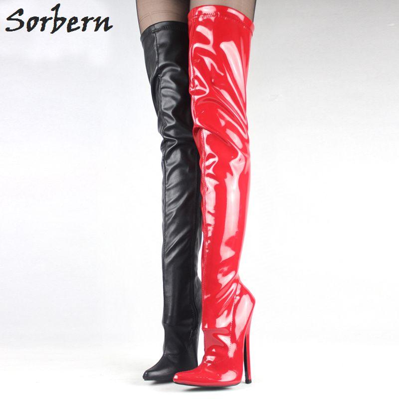 """Botas altas de tacón alto de 7 """"/ 18 cm Fetiche Tacones finos de tacón de aguja sexy Botas con cremallera sobre la rodilla Botas altas de entrepierna de muslo"""