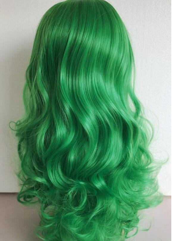 Parrucca sintetica resistente al calore verde erba parrucca senza pizzo anteriore parrucche sintetiche giapponesi in fibra