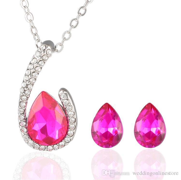 Angel Tear Drop Crystal Bridal jewelry Rhinestone Waterdrop Stud Earrings Pendant Necklace Women Wedding Party Jewelry Set