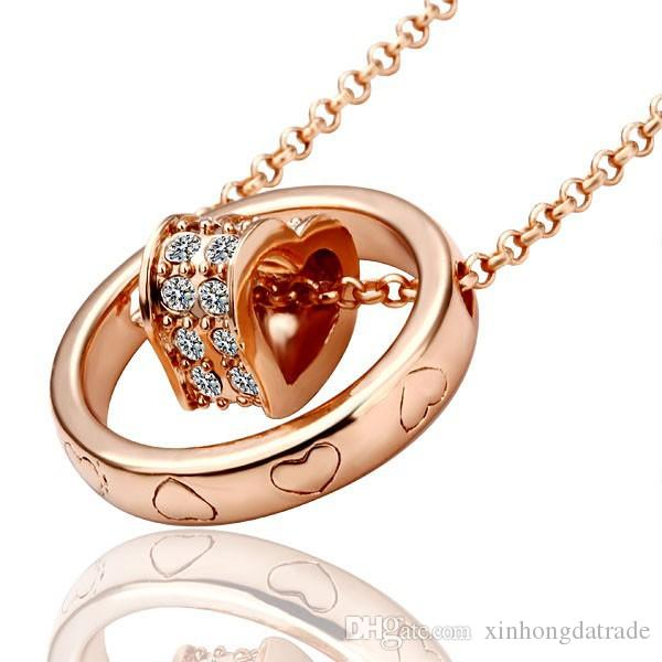 Classcial 18K Rose Gold/Platinum Plated Heart Pendant Necklace Genuine Austrian Crystal Fashion Costume Women Necklaces Jewelry for women