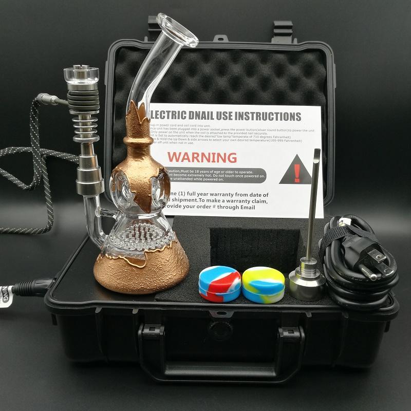 Tragbarer Kasten D elektrische Nagel Kit E digital Nägel Heizspule PID-Box mit Verkupferung Wasserrohr Waben PERC Funktionen Bohrinsel