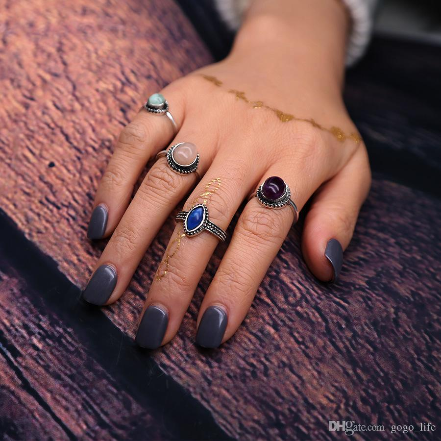 4pcs/set Ancient Silver Color Simulated Gemstone Ethnic Tibetan Chunky Ring Set Boho Jewelry Tribal Jewelry US $1.39 / Set