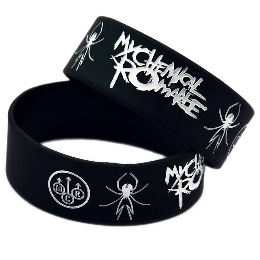 50PCS Punk Style Band My Chemical Romance Silicone Rubber Bracelet Black 1 Inch Wide Adult Size