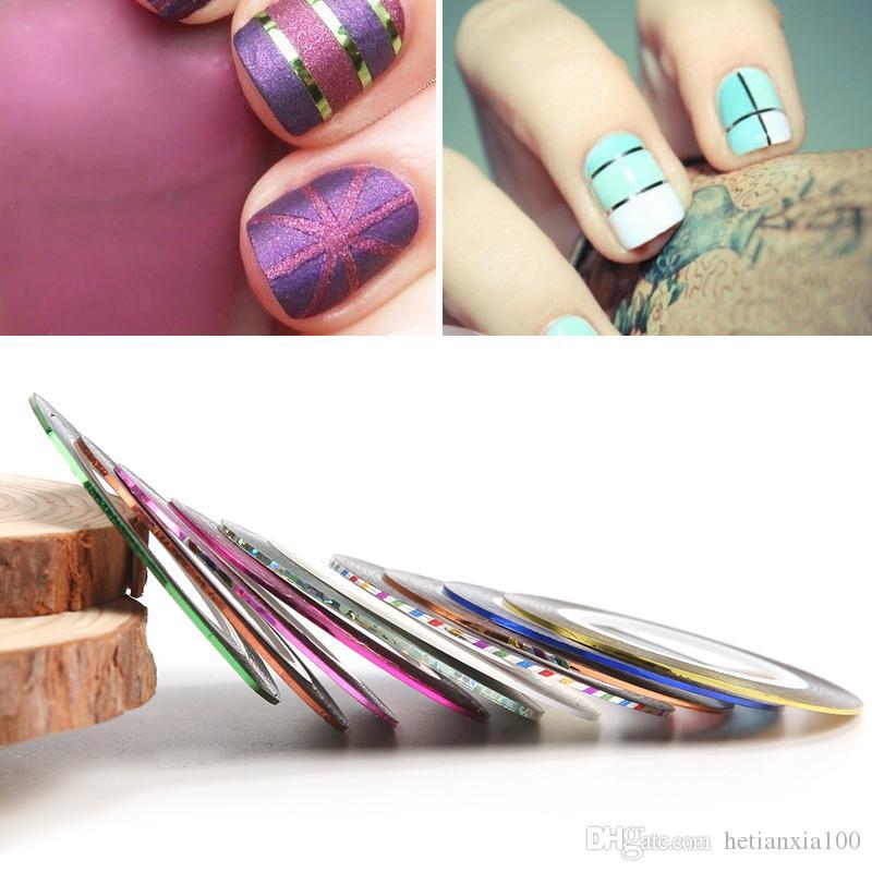 2017 Nuovo 10 Pz / set Colori Misti Nail Rolls Nastro Linea Linea DIY Nail Art Tips Decorazione Sticker Unghie Cura
