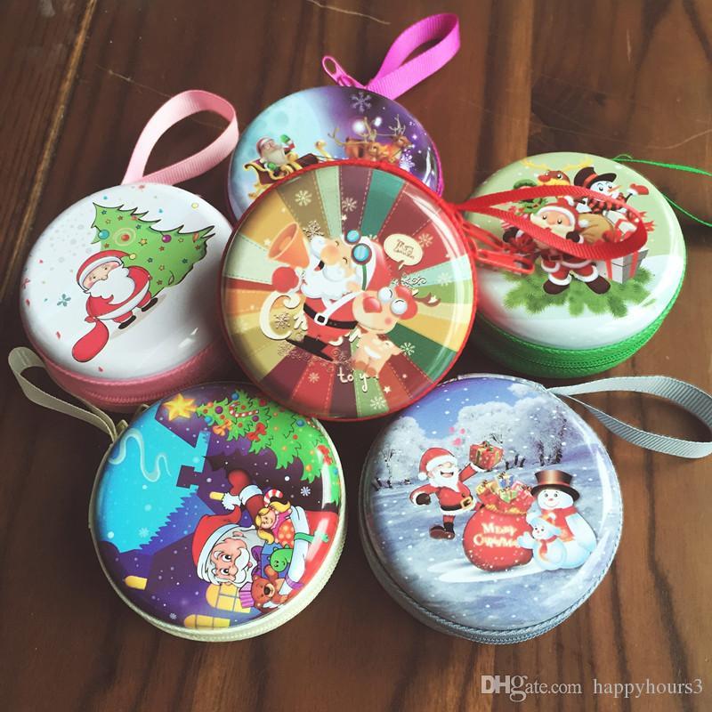 24 ADET Mini Sevimli Yuvarlak Kulaklık Noel Fermuar Madeni Para Çanta Anahtar Cüzdan Kılıfı Çanta Para Paket Noel hediye kutusu, tutucular Noel Favor