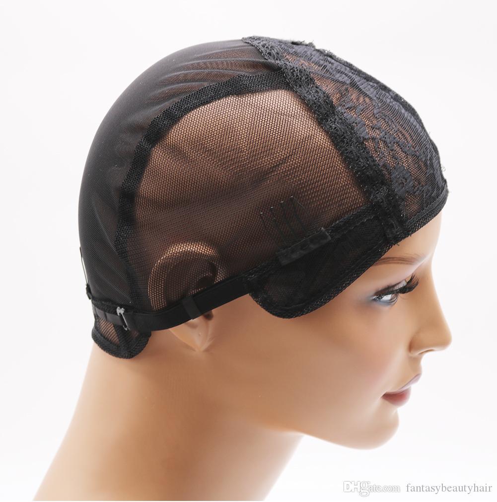 DIYDIY doppio merletto parrucca tappi per fare parrucche e capelli tessitura stretch regolabile parrucca cappuccio caldo nero cupola cap per parrucca netto dei capelli