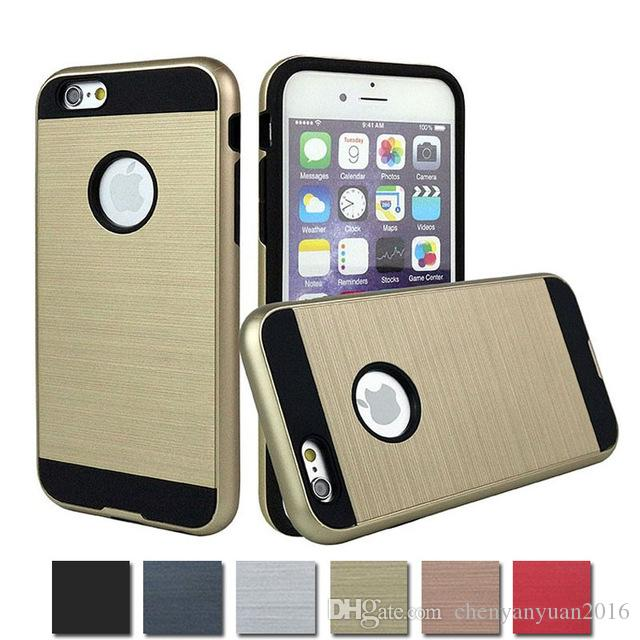 For iphone7 7plus Tough Slim Armor Silicone TPU + Brushed PC Hard Case For Apple iphone6/6s 6/6s plusShockProof Cover