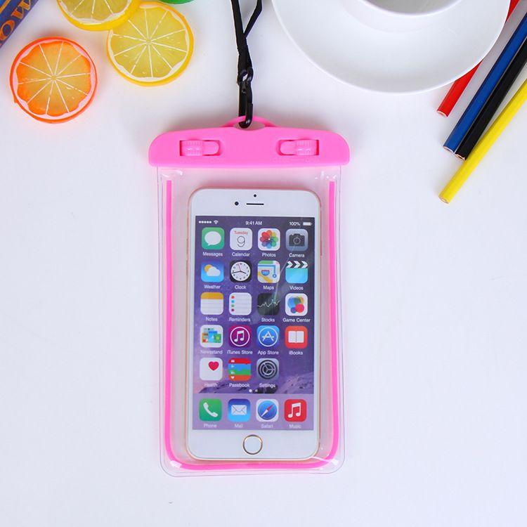 3000 قطع العالمي يتوهج في الظلام للماء الحقيبة ل iPhone7 زائد لسامسونج غالاكسي j5 s5 حالة تغطية السباحة للماء الهاتف الحقيبة الفلورسنت