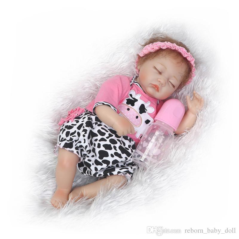 Dormir babu muñeca 22 pulgadas muy suave vinilo de silicona renacer muñeca realista real touch niños jugando juguetes