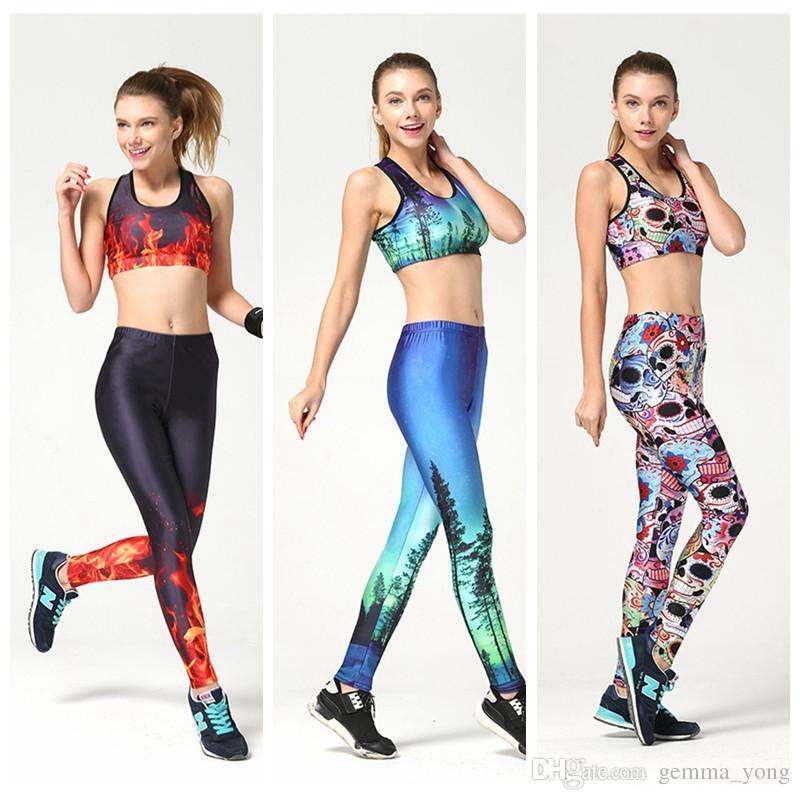 مثير المرأة الرياضة اليوغا البدلة سليم السامي مطاطا بذلة الركض ملابس رياضية 3d طباعة تنفس ضيق أوروبا الجري التدريب