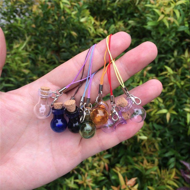 Mini Glass Bottles Key Chain Pendants Lobster Clasp Glass Ball Bottles Corks Vial Arts Jars For Bracelets Mixed Colors (2)