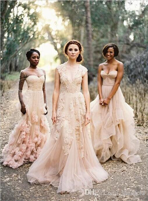 2017 Cheap Vintage Pink Deep V Cap Sleeves Lace Applique Tulle Sheer Wedding Dresses A Line Reem Acra Latest Blush Wedding Bridal Dress Gown
