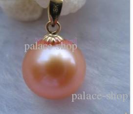 Pendentifs de perles d'eau douce roses de 14 mm