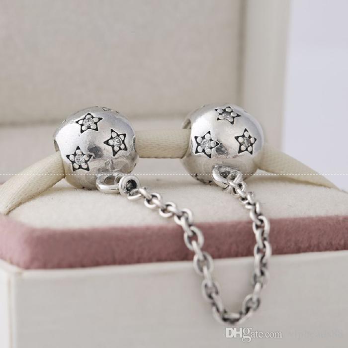 Catena di sicurezza Star Charms Perline 100% 925 Sterling-Silver-Jewelry Clear CZ Symbols Bead braccialetti fai da te Braccialetti Accessori
