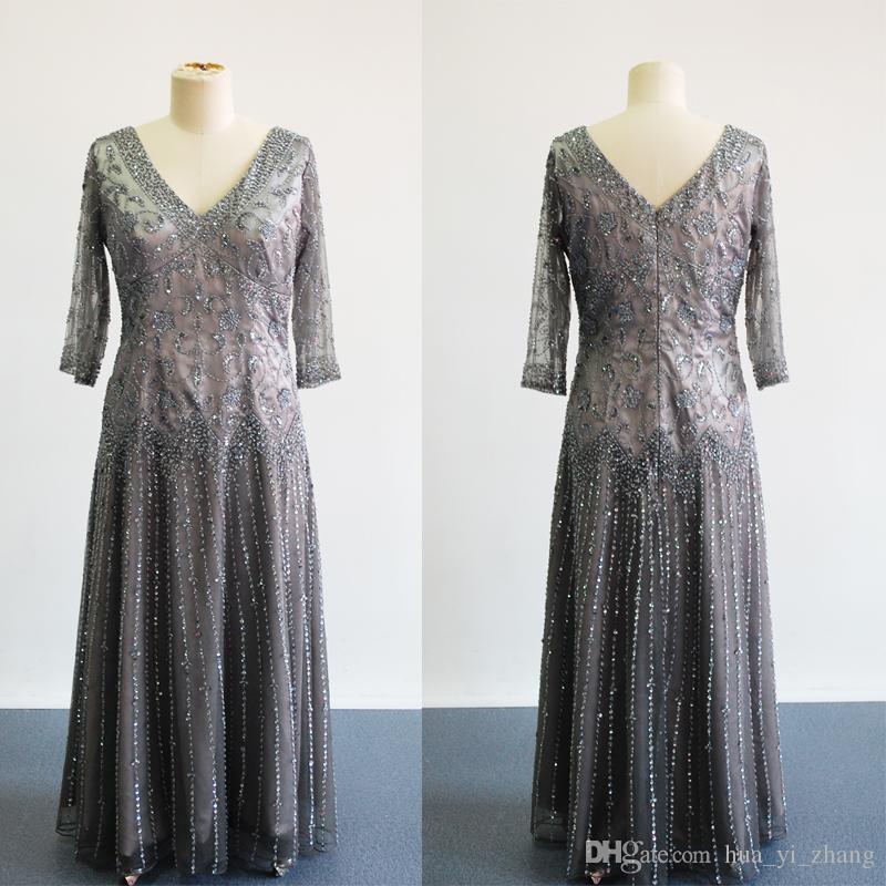 Deep Grey Mutter Brautkleider Echt Images 2016 3/4 langen Ärmeln A-Linie SpitzeAppliques wulstige Abendgarderobe Kleider