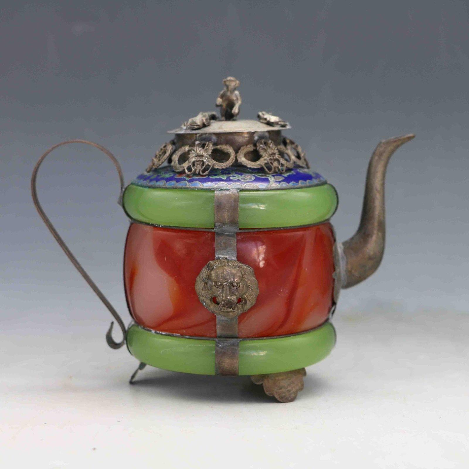 Collection décoration chinois naturel jade armure dragon ion tibétain argent travail manuel théière singe couvercle