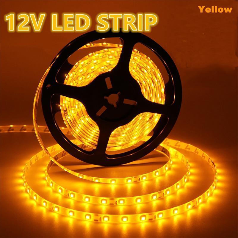 Yellow LED Strip Light Waterproof 5050 flexible strip lights 5050 RGB 60 LEDS 5M roll DC 12V Flexible 300 led for holiday christmas