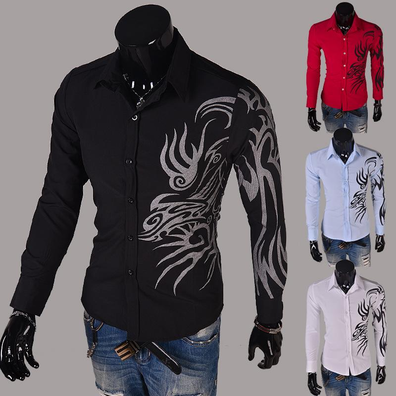 Wholesale- 2016 new casual long sleeve shirts dress male mens clothing social slim fit brand boutique cotton western button white black red