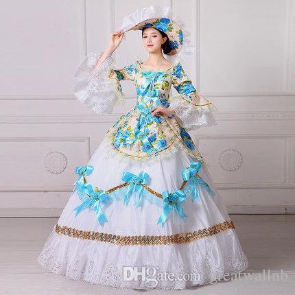 100% vero cielo blu fiore bowknot increspato medievale abito da ballo rinascimentale sissi vestito principessa vittoriano / marie antoinette / colonial belle palla