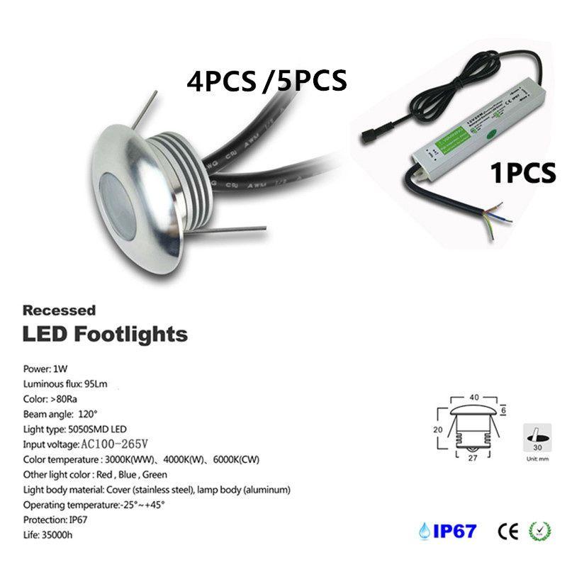 4-5pcs / комплект DC12V 1W LED Deck Light Встраиваемый лестничные Подземная лампа IP67 Водонепроницаемый LED Напольные светильники настенные прожекторы IP67 CE Driver