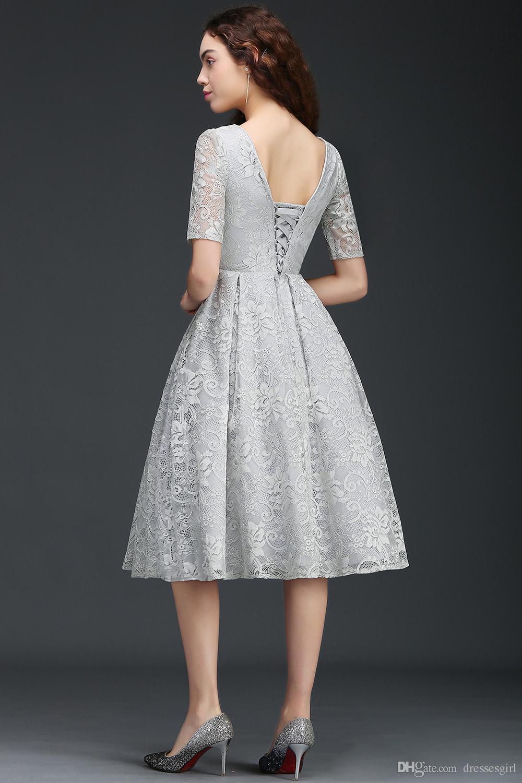2017 Modest Cheap Homecoming Dresses Silver Lace Tea Length V Back ...