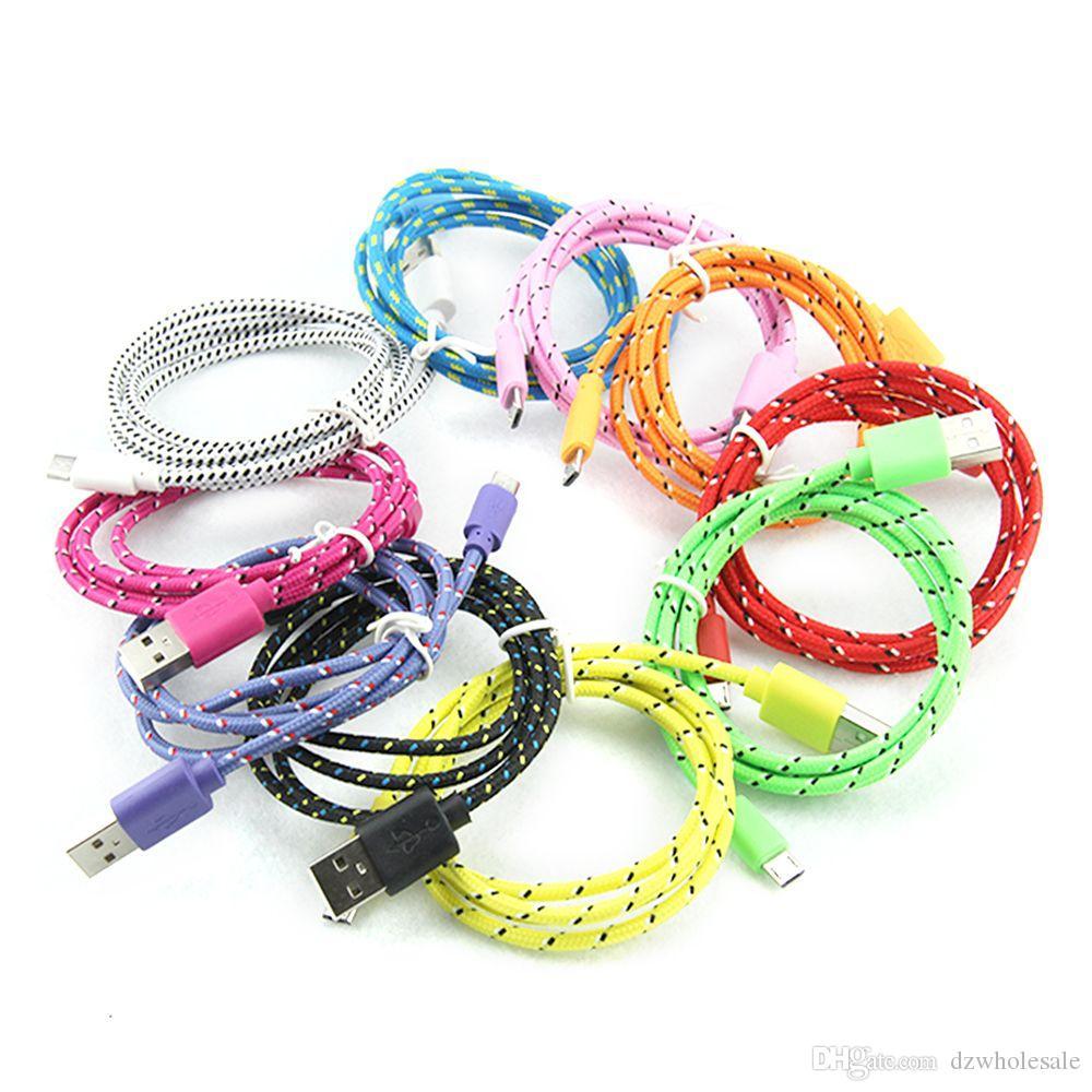 1m - 3m Runde Stoff geflochtene Nylon Daten Sync USB Kabel 3Ft 6Ft 10Ft Cord Ladegerät für alle Handy aufladen