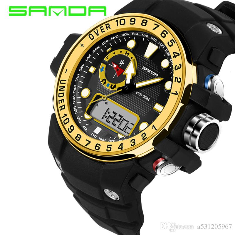 Neues Angebot Quarz Herrenuhr SANDA Sport Uhren Männer Mode Lässig Digital Electronics Dive 30M Militär Uhr Relogio Masculno