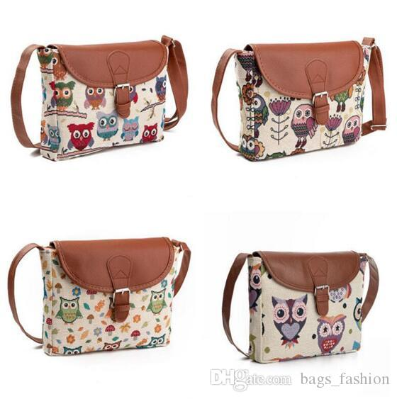 Female Handbags Summer Women Messenger Bags Flap Bag Lady Canvas Cartoon Owl Printed Crossbody Shoulder Bags Small Free Shipping