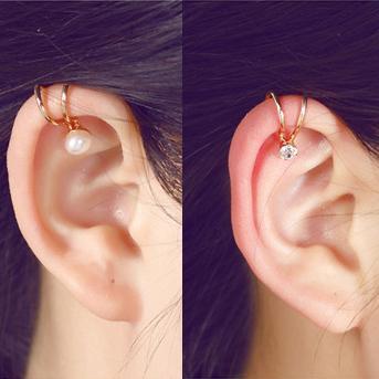 Clip del polsino dell'orecchio della perla della stella del cuore di stile coreano sugli orecchini per i monili 5E202 delle ragazze di modo delle donne