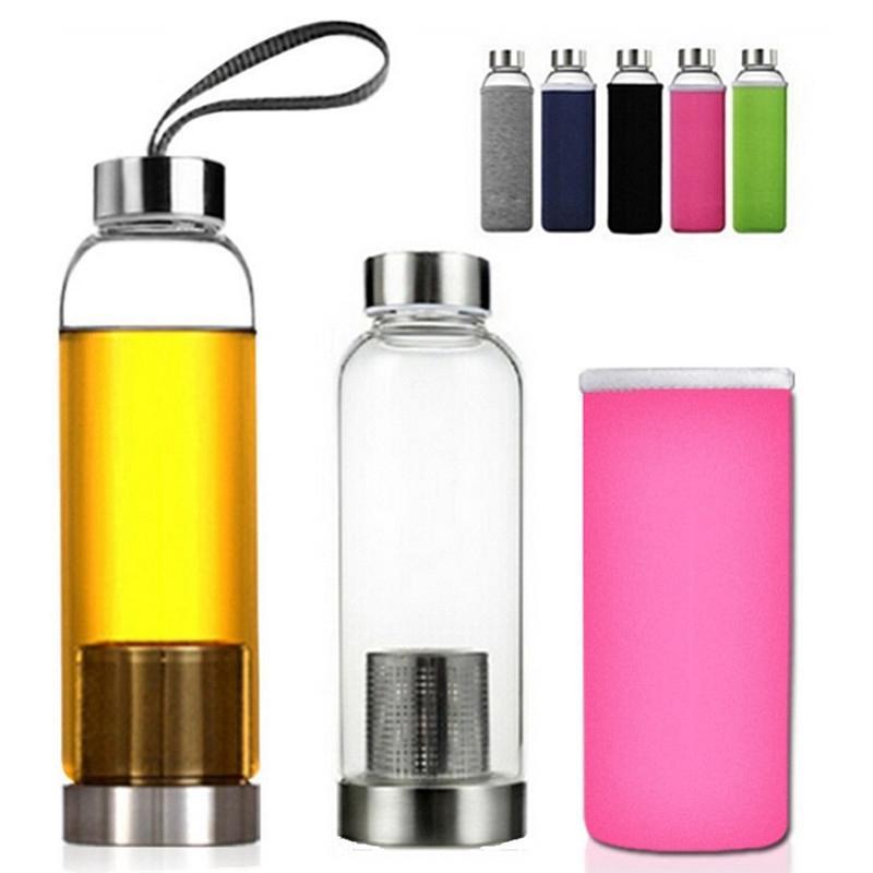 550 مل عالية الحرارة مقاومة الزجاج Bpa الحرة الرياضة زجاجة ماء مع فلتر الشاي التحلل إبريق الماء الحرارة حقيبة واقية إبريق الشاي
