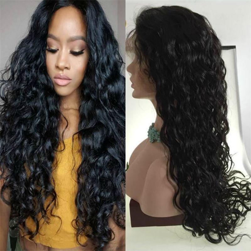 8A glueless anteriore dei capelli umani parrucche per donne di colore bagnato ed ondulato brasiliano merletto pieno parrucche con capelli del bambino parrucca anteriore del merletto