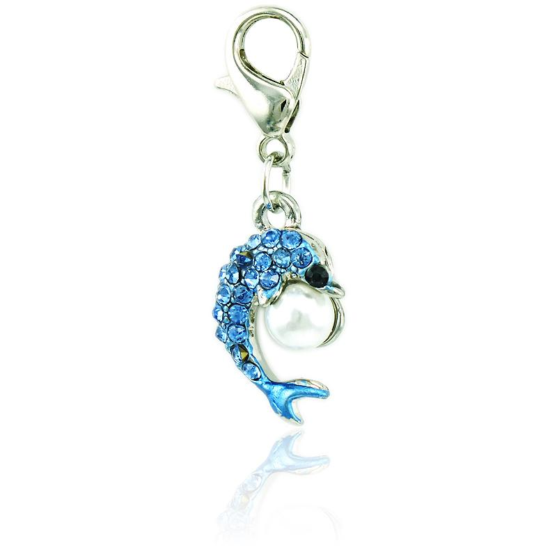 Fashion Lobster Clasp Charms Dangle 3 Color Rhinestone Pearl Dolphin Animal Charms DIY Pendants Jewelry Accessories