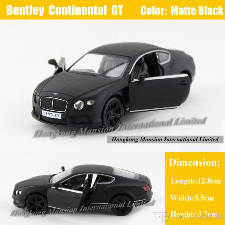 1:36 Scale Diecast Alloy Metal Car Model ForBentley Continental GT Collection Licensed Model Pull Back Toys Car - Matte Black