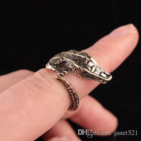 Les bijoux en acier titaniques réglables des femmes ouvertes de crocodile ouvert sonne des bijoux gothiques pour des filles / dames