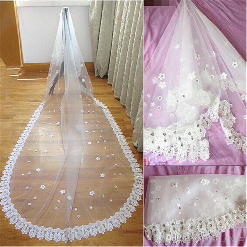 Brand New Romantic Bridal Veils with Long Train Appliques 3M White/Ivory Luxury Beads Wedding Veils Wedding Accessories for Wedding Dress