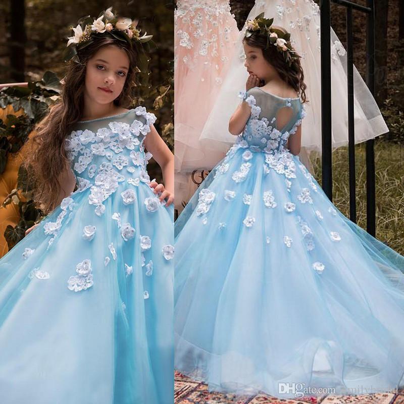 Princess Wedding Flower Girl Dress With 3d Flower Beaded A Line Kids ...