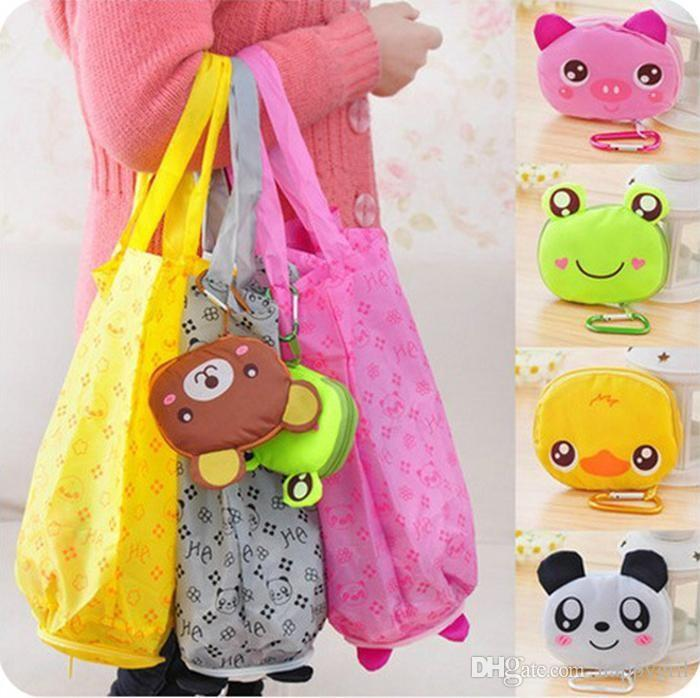 Grande testa del fumetto del sacchetto di acquisto piegante Eco di viaggio pieghevoli Borse Grocery Tote bagagli riutilizzabili Animal Shopping Bags 5 Styles