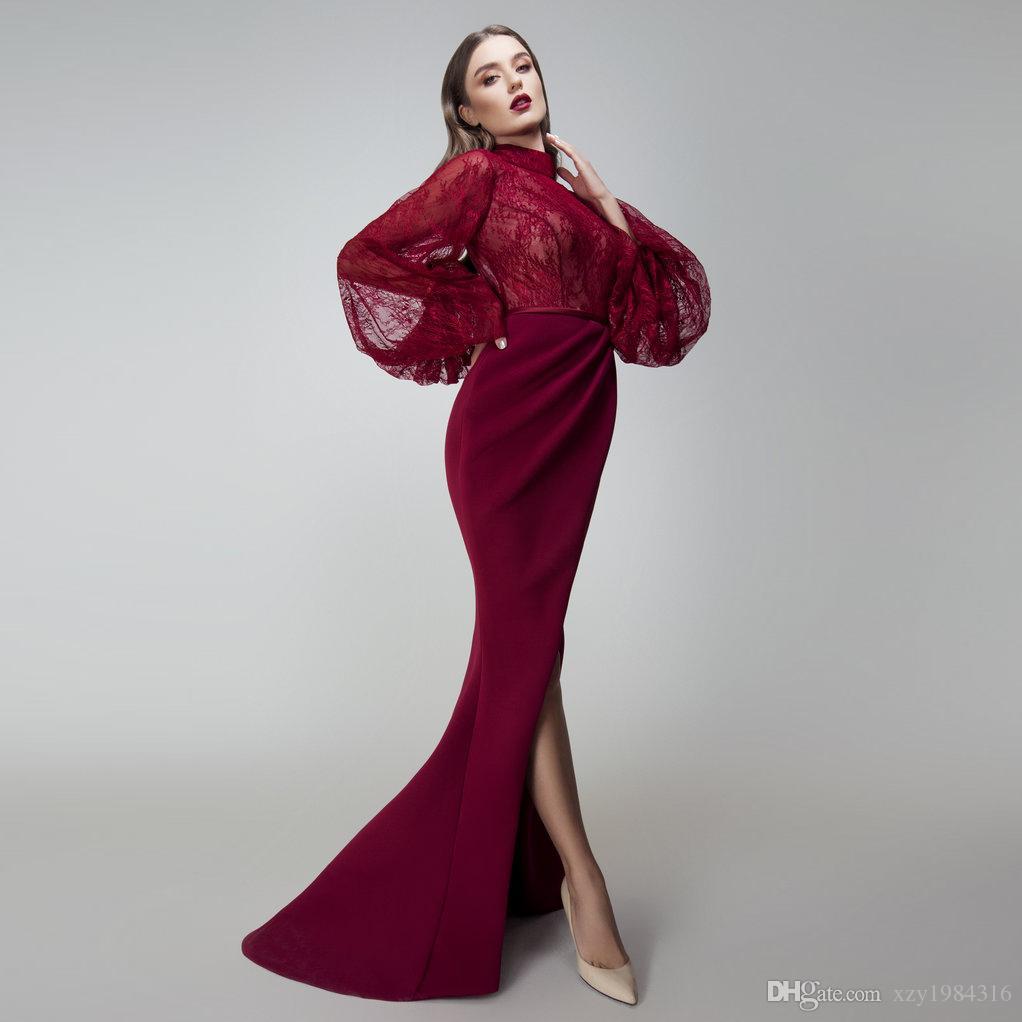 Stunning High Neck Mermaid Evening Gown Fashion Trumpet Lace Long Sleeve Side Split Prom Dresses Sexy Elegant Satin Long Evening Dresses