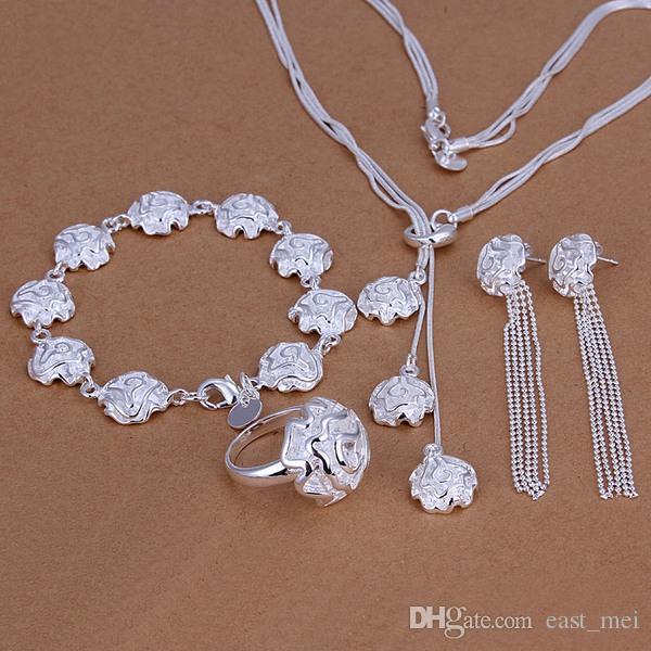 Hochzeitsrosen Sterling Silber Überzogene Schmuckset für Frauen ES241, Mode 925 Silber Halskette Armband Ohrring Ring Set