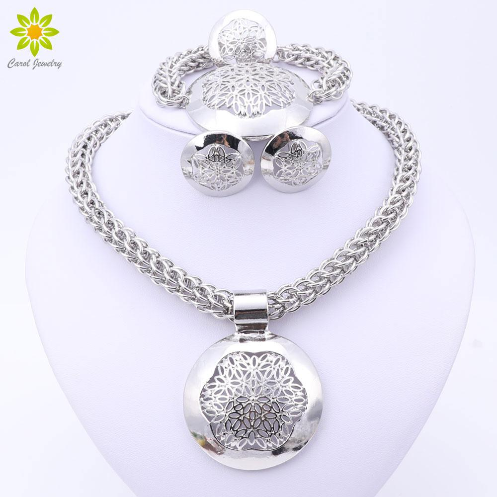 2017 Fashion Dubai Silver Plated Jewelry Sets Costume Round Design Silver Plated Nigerian Wedding African Beads Jewelry Sets