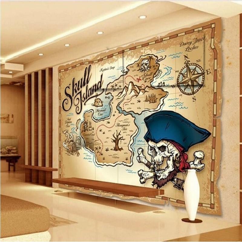 Wholesale Papel De Paede Pirate Treasure Map Wallpaper Fashion Wood Mural Wallpaper Childrens Room Bedroom Wallpaper Large Murals Wallpaper Wide Net