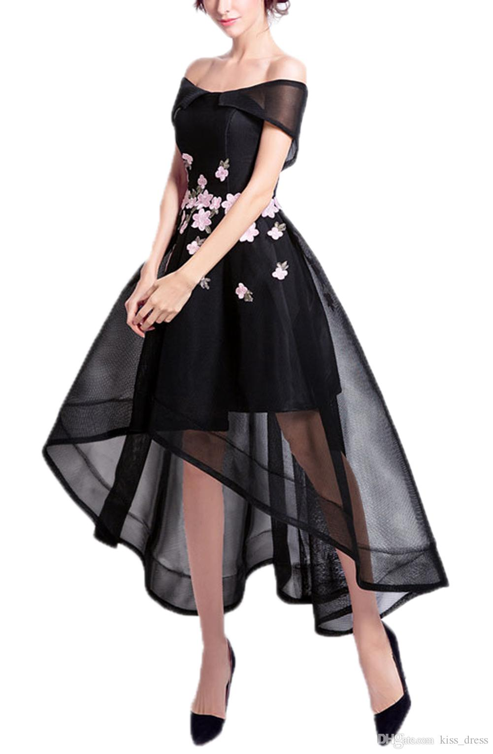 Off-the-épaule Robes De Bal Noir Haute Basse Rose Élégant Fleur Tulle Robes De Soirée Formelles 2019 Nouveau Design Ventes Chaudes Sur Mesure P119