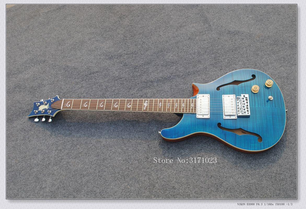 Frete grátis Pessoal Tailor blue Missing angle guitarra Elétrica com f Buraco Rosewood Fingerboard Pode personalização