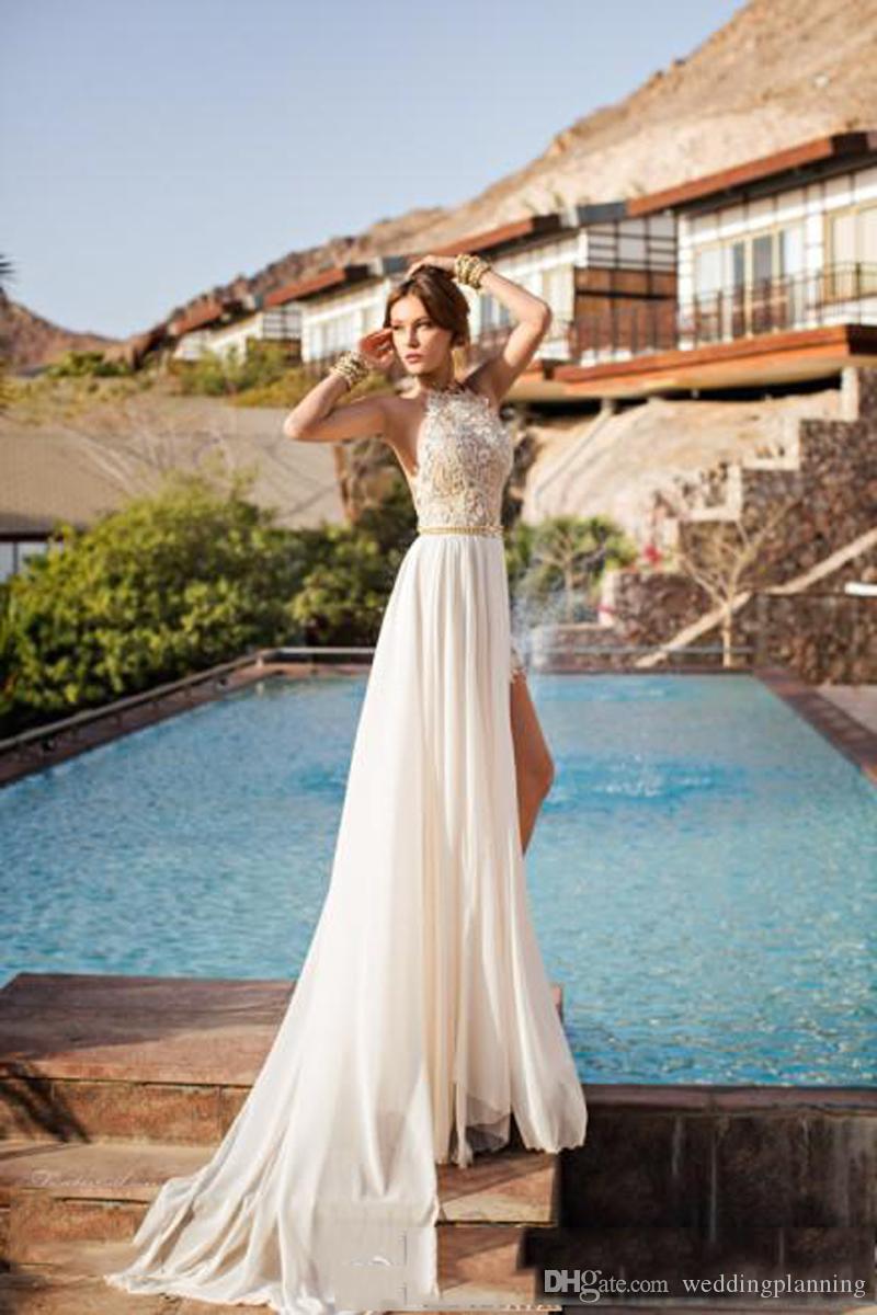 Julie Vino Lace Appliqued Beach Wedding Dresses Bohemian Halter ...